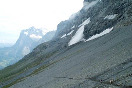 The Eiger Trail crosses a scree slope