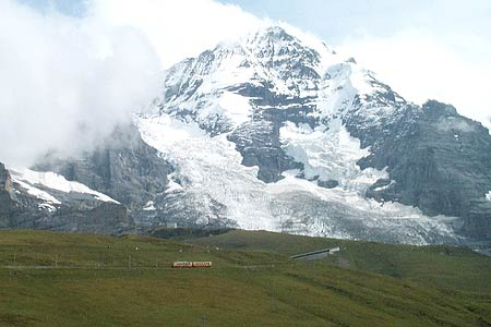 A train heads to the Jungfrau