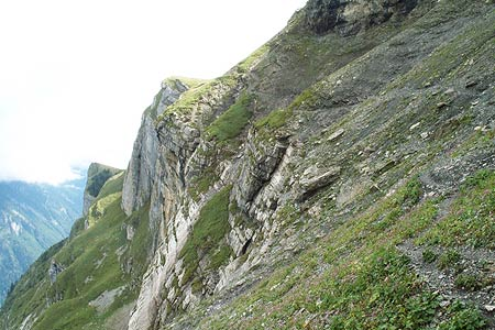 Tricky section of the path across the Tschingel scree