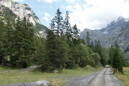 The private valley service road in Gasterntal